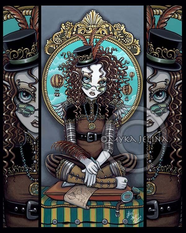 Steampunk Fairy Aviatrix Hot Air Balloon Lucy Myka Jelina Signed Fine Art Print