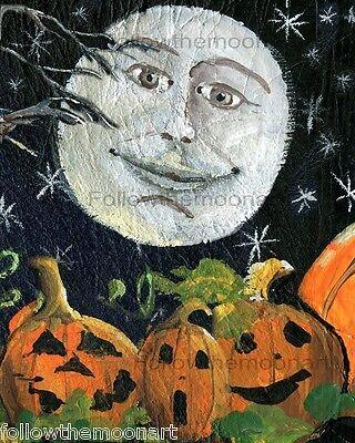 Halloween Moon Face Pumpkin Patch Stars Jack O Lantern  Wall Art Print