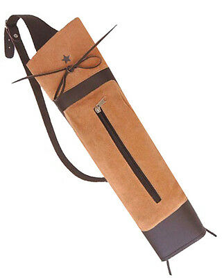 NEW TRADITIONAL FINE SUEDE LEATHER BACK ARROW QUIVER ARCHERY PRODUCTS BFAQ8316B.