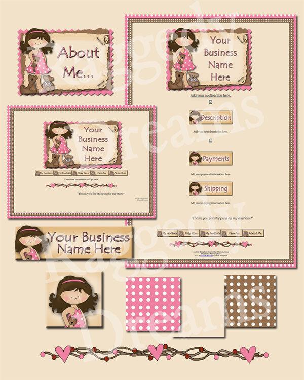 Pink & Brown Teddy Bear Girl Scrapbook COMPLETE EBAY STORE DESIGN Raggedy Dreams