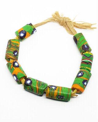 8 Vintage African Trade Venetian Green & Orange Millefiori Beads. Excellent.