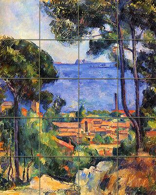 Cezanne Art Tumbled Marble Mural Landscape Tile #126