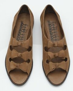 NEW F-TROUPE Brown Bow Suede Toe Sandals Shoes flats 37 UK4 £110