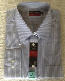 "M&S men's blue striped shirt 17 1/2"" collar"