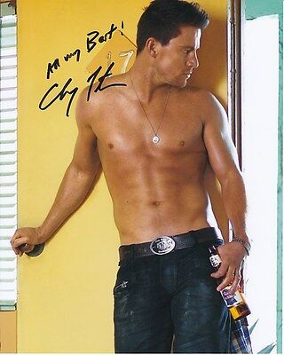 Channing Tatum Signed Autographed Shirtless W  Pabst Blue Ribbon Photo