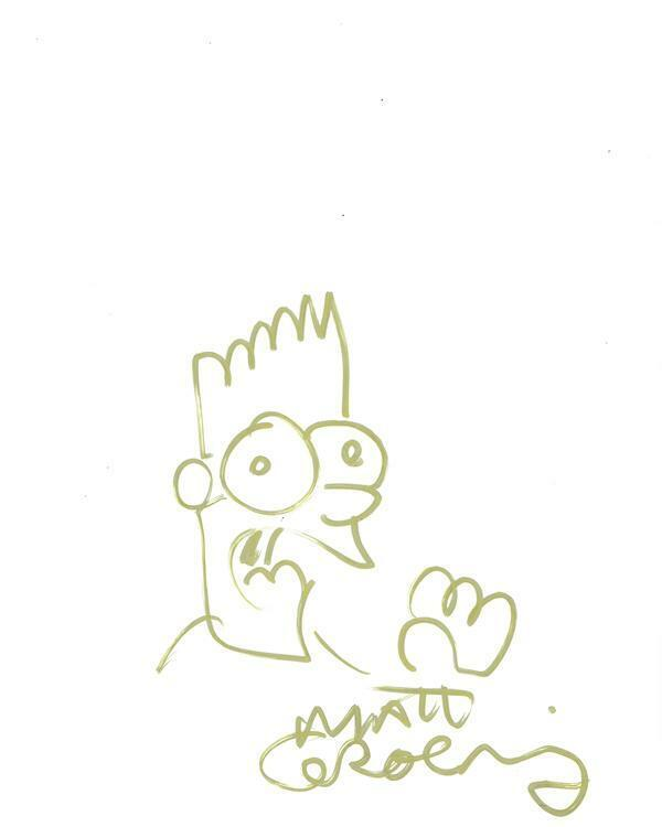 MATT GROENING The Simpsons AUTOGRAPH Bart Signed 8.5x11 Sketch ACOA LOA