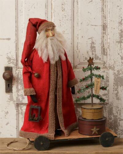 New Primitive Folk Art Antique Style VINTAGE SANTA CART Feather Christmas Tree