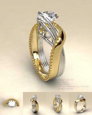 - 925 Silver&18K Yellow Gold Plated White Topaz Ring Women Wedding Evening Party