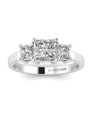1 CT Natural Diamond Engagement Ring Princess Cut F/VS2 14K White Gold Enhanced