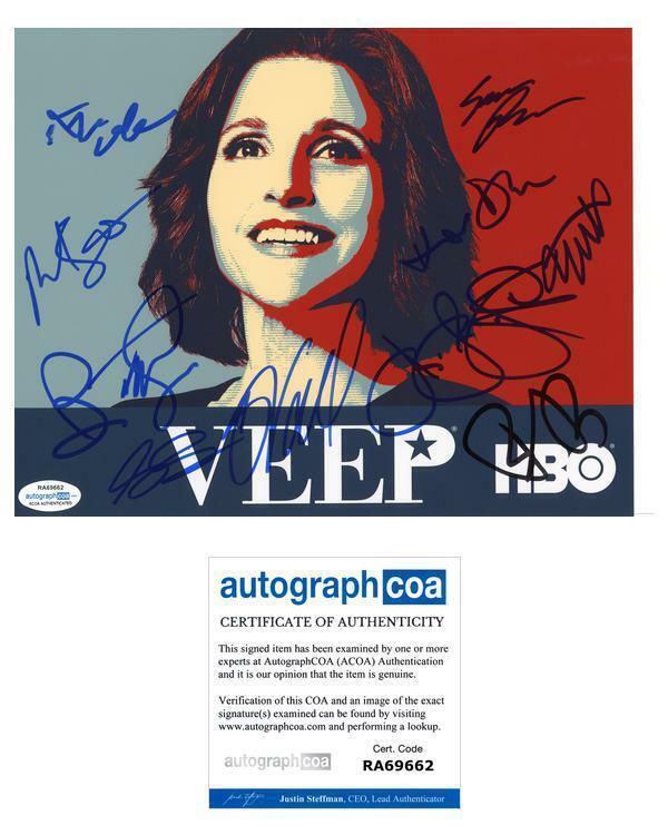 """""""Veep"""" Cast AUTOGRAPHS Signed 8x10 Photo - Julia Louis-Dreyfus +10 ACOA"""