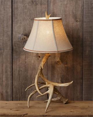 New Rustic Cabin Hunting Camp Lodge DEER ANTLER LAMP Shade Electric Table (Antler Table Lamp)