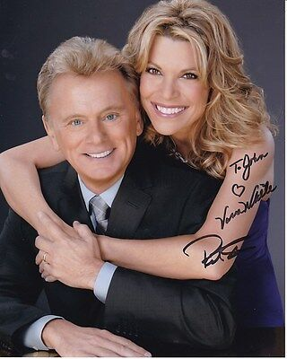 Vanna White   Pat Sajak Autographed Signed Wheel Of Fortune Photograph   To John