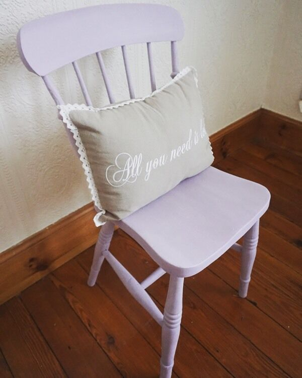 Purple Wooden Chair Vintage Country Shabby Chic