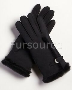 Womens Shearling Sheepskin Gloves with Buckle