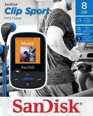 SanDisk Sansa Clip Sport 8 GB MP3 Player FM Radio SD Slot-Blue (Sansa Clip Sport)