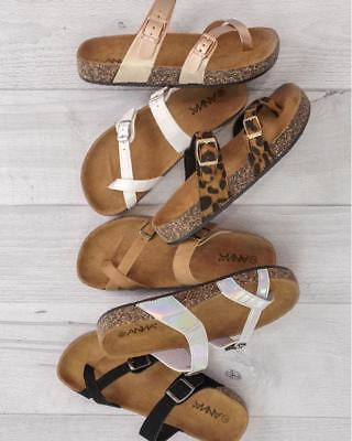 New Criss Cross Open Toe Dual Buckle Gladiator Slide Flat Sandal Shoe Flip Flops