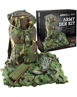 Kids Army Outdoor Adventure Kit - Camouflage Den Kit - Army Children Roleplay  (Kids Army Kit)