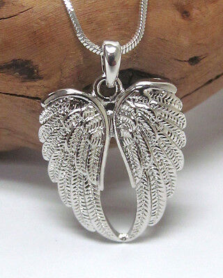 ANGEL WINGS Necklace White Gold Plated Designer Style Angel Wings Necklace ()