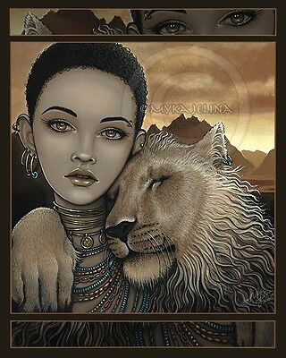 - African Princess Lion Cat Zariel Akachi Fairy CANVAS Print Signed Myka Jelina