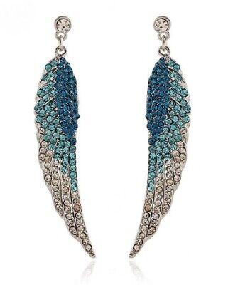Earrings Angel Wings Silver Rhinestone Teal Blue Clubwear Dangle Biker Wedding