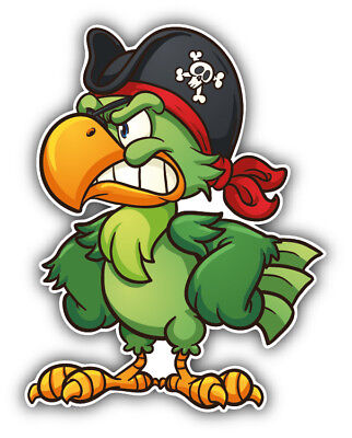 Angry Cartoon Parrot Pirate Car Bumper Sticker Decal - 3'', 5'' or 6'' (Pirate Stickers)