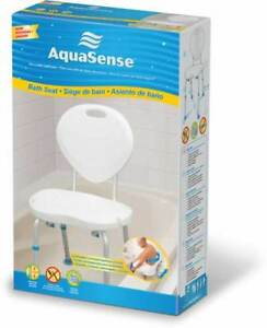 Aquasense Ergonomic Adjustable Bath/Shower Seat with Backrest