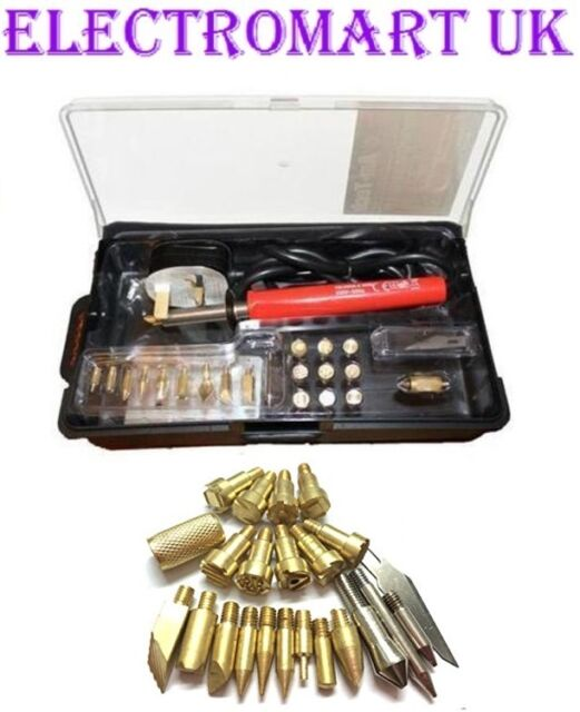 22 PC 30W PYROGRAPHY TOOL WOOD BURNING CRAFT WOOD BURNING PEN IRON KIT & STAND