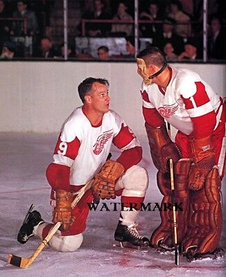 NHL Detroit Red Wings HOF Gordie Howe & HOF Terry Sawchuk 8 X 10 Color Photo -