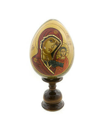 Egg Russian Virgin and the CHILD Jesus Wooden Painted Large Model Peterandclo