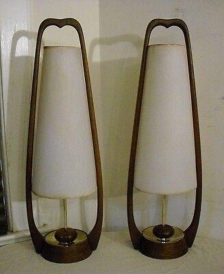 PAIR of VINTAGE MID CENTURY MODELINE TABLE LAMPS - WALNUT & BRASS