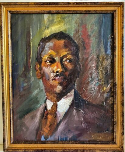 Original Impressionist Oil Painting Portrait Martin Luther King 1950.