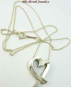 Tiffany-Co-Paloma-Picasso-Sterling-Silver-925-Loving-Heart-Pendant-19-Chain