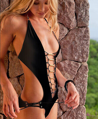 Sauvage for Victoria's Secret One Piece Swimsuit Gold Tubes Strappy Cut Out Nwt One Piece Tube