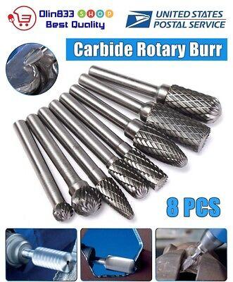 8pcs Tungsten Carbide Burr 14 Shank Rotary Cutter Files Set Cnc Engraving Usa