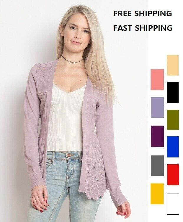 WOMEN'S LONG SLEEVE OPEN FRONT CARDIGAN WITH POINTELLE DETAIL COTTON & RAYON