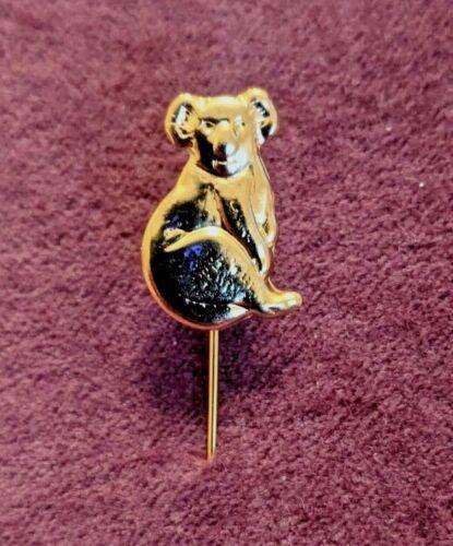 Vintage Australia Koala Bear Sitting Small Lapel Hat Stick Pin Gold Tone Badge