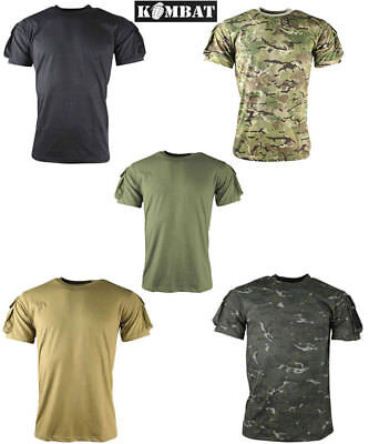 Kombat Mens Tactical Army Military Pocket T-Shirt Surplus Black Camo Green New