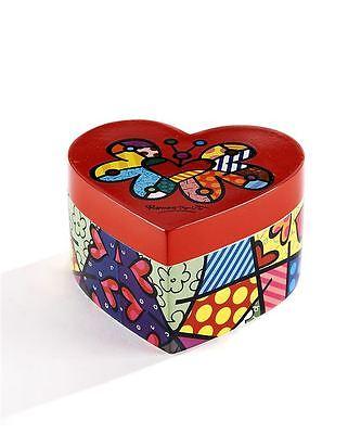 Romero Britto Heart Shaped Keepsake Trinket Box with Graphic - Heart Shaped Keepsake