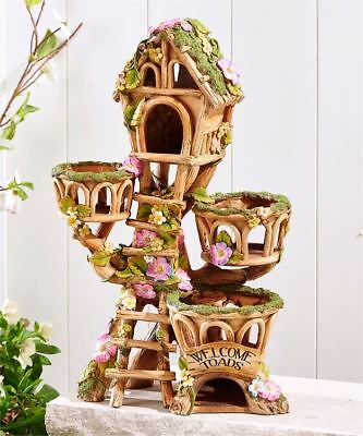 French enchant?e Garden Treehouse or Toad House Design with 3 Planter Pot Planters NEW