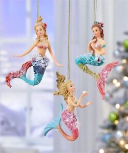 Fairy Garden Mermaid  Christmas Tree Ornaments Set of 3 Mermaids GC718 Beach