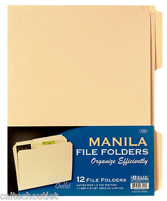 12pk Manila File Folders Letter Size Three Tab Positions 11-58 X 9-12