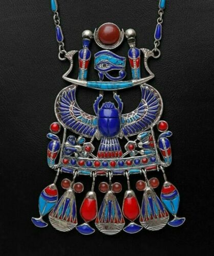 ANCIENT EGYPTIAN ANTIQUES SILVER ROYAL NECKLACE WINGED SCARAB LAZULI STONE BC