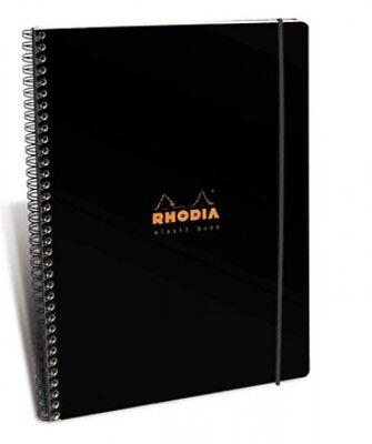 Rhodia Wirebound Notebook - Black - Lined W Margin - Elasti Book - 8.25 X 11.75