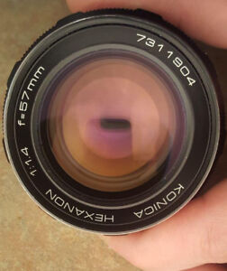 Konica Hexanon 57 mm 1.4 rare fast lens,