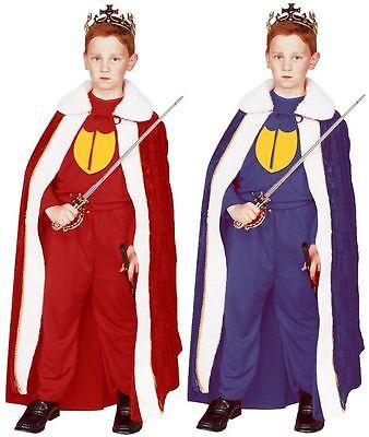 RENAISSANCE KING QUEEN CHILD KIDS COSTUME ROBE BOY MEDIEVAL PRINCE CAPE BLUE RED - Boys Renaissance Costume