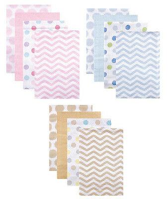 Luvable Friends Boys & Girls Pink, Blue & Tan 4 Pack Flannel Receiving Blankets