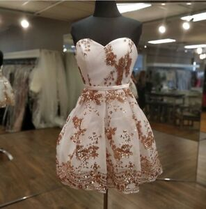 White and rose gold grad or prom dress