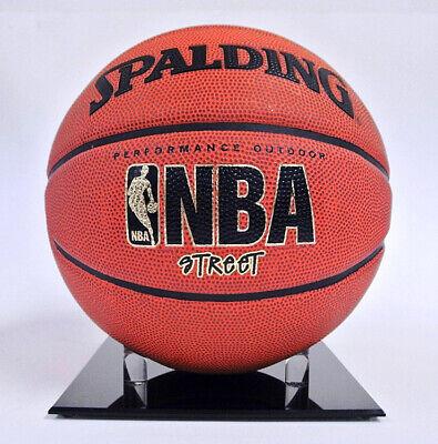 (5) NBA NCAA FULL SIZE BASKETBALL ACRYLIC BLACK BASE DISPLAY STAND BALL HOLDERS Black Acrylic Football Display Case