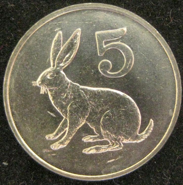 Zimbabwe 5 Cents 1980  CH BU  rabbit hare Rhodesia