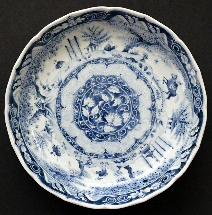 "HUGE 14"" Vintage CHINESE Porcelain China HAND-PAINTED Blue & White Bowl / SIGNED"